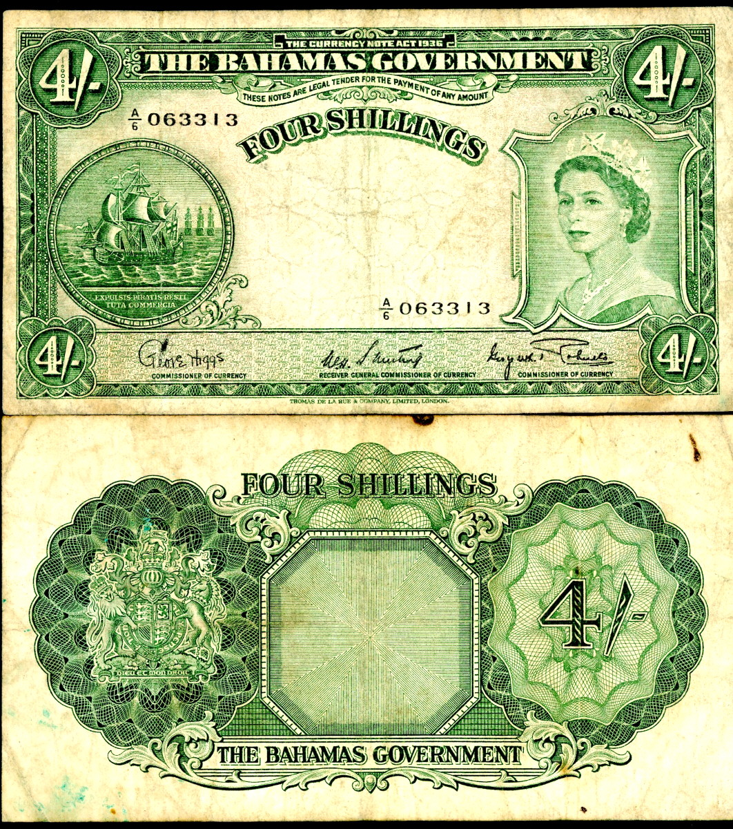 4 shillings  VG-F Banknote