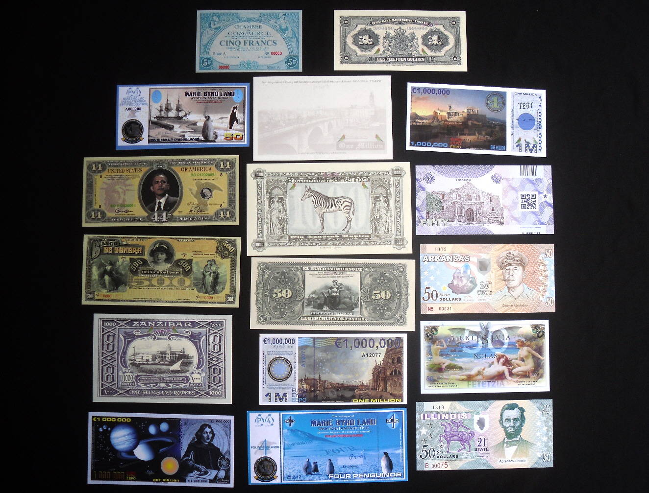 various mixed denominations  mostly UNC Banknote