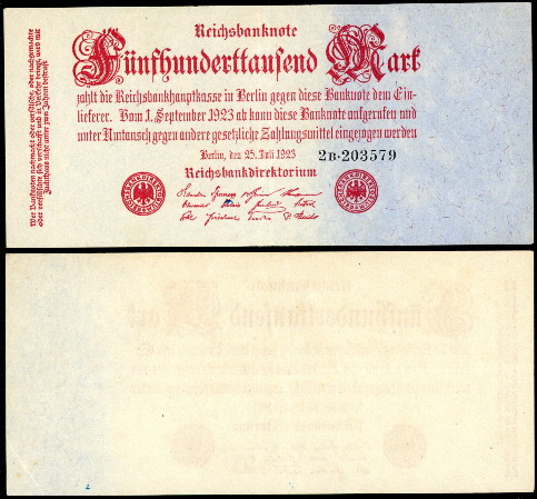 500,000 mark  (60) VF Banknote