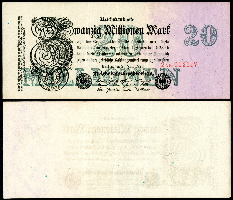 20,000,000 mark  (60) VF Banknote