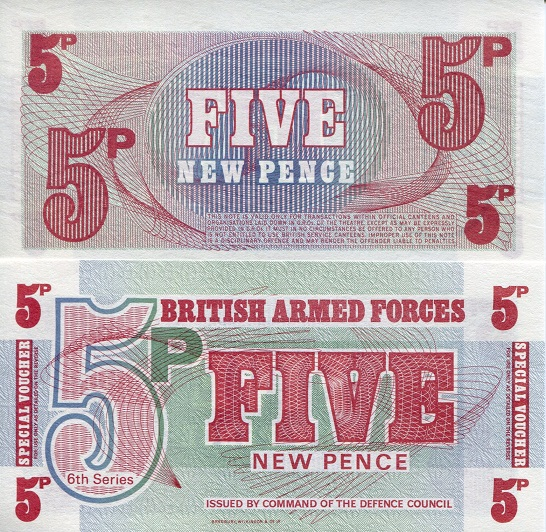 5 new pence  (90) UNC Banknote