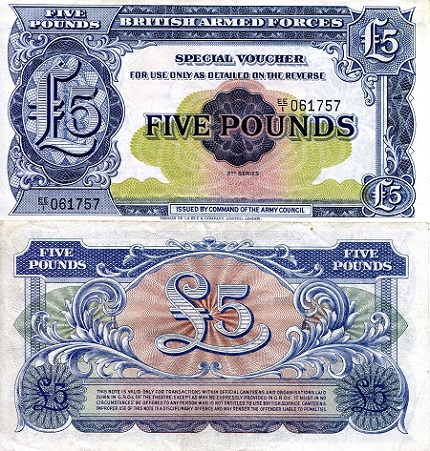 5 pounds  (85) AU-UNC Banknote