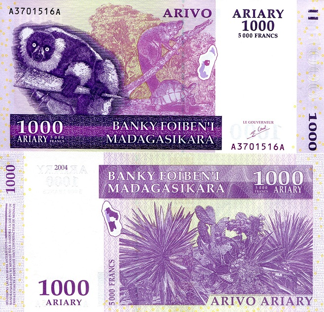1000 ariary  (90) UNC Banknote