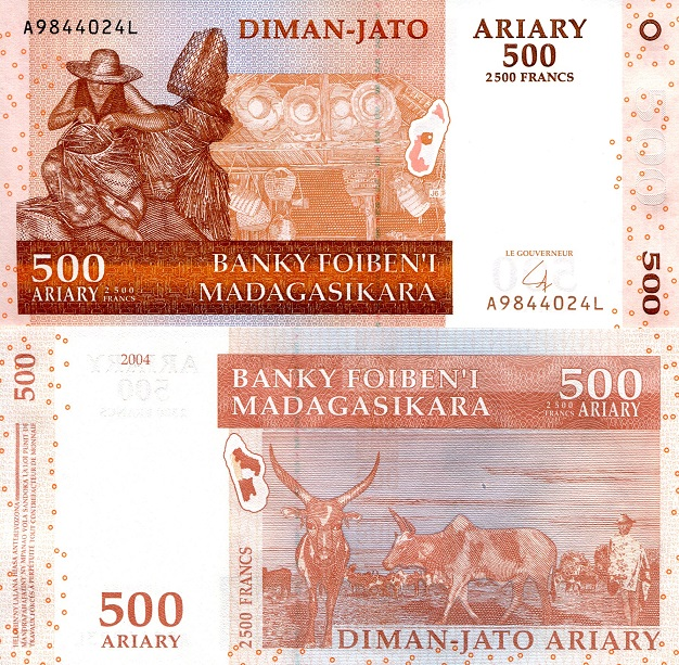 500 ariary  (90) UNC Banknote