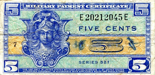 5 cents  (50) F Banknote
