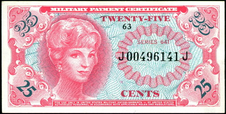 25 cents  (70) EF Banknote