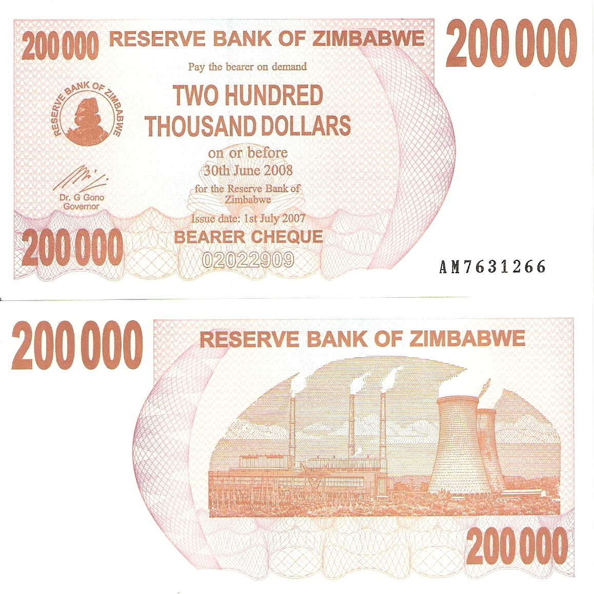 200,000 dollars  (50) F Banknote